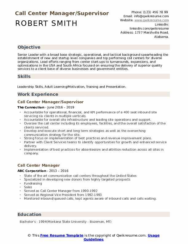 Call Center Manager/Supervisor Resume Template