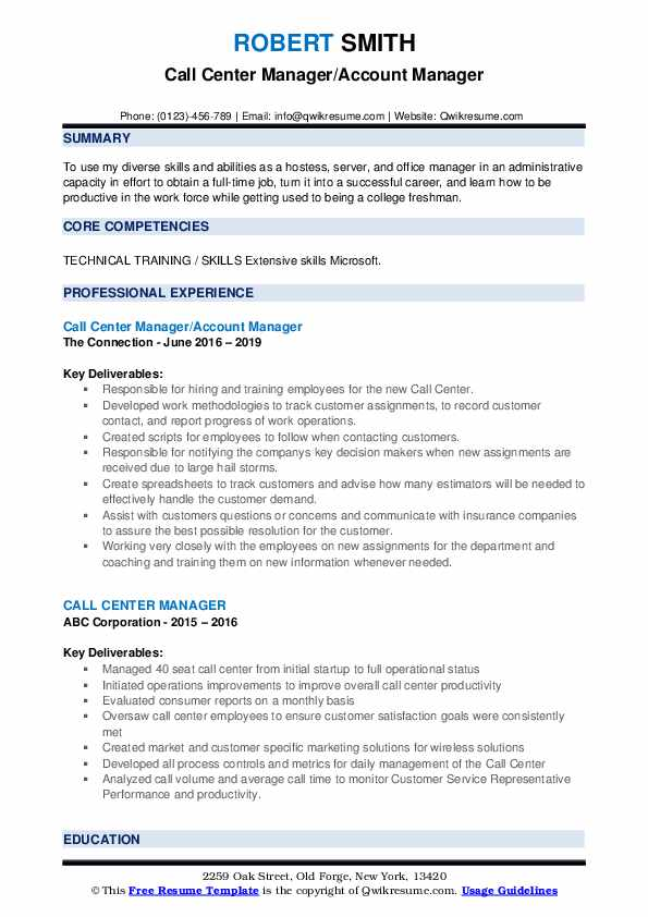 Call Center Manager/Account Manager Resume Template