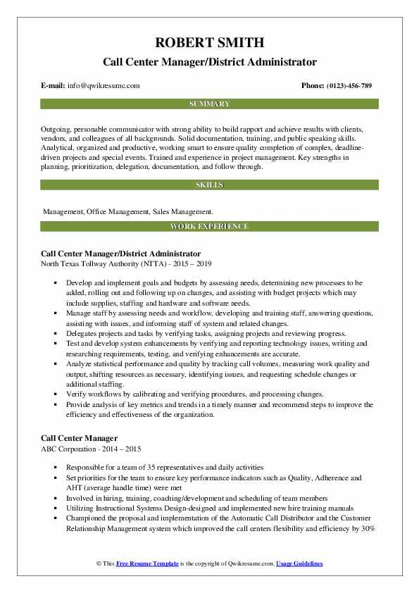 Call Center Manager/District Administrator Resume Format
