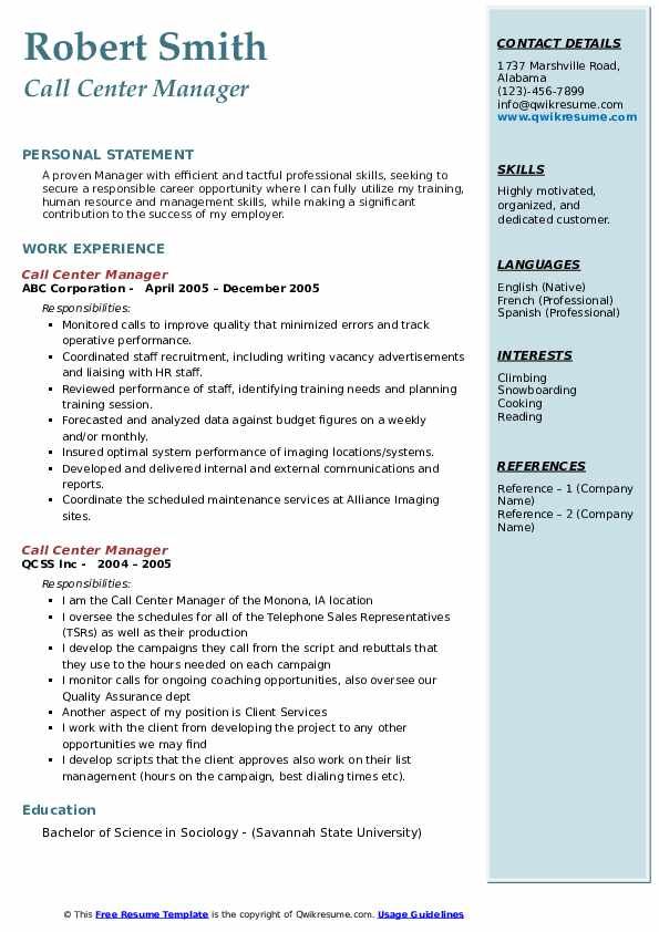 Call Center Manager Resume example