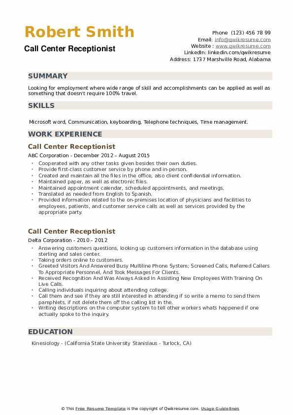 Call Center Receptionist Resume example
