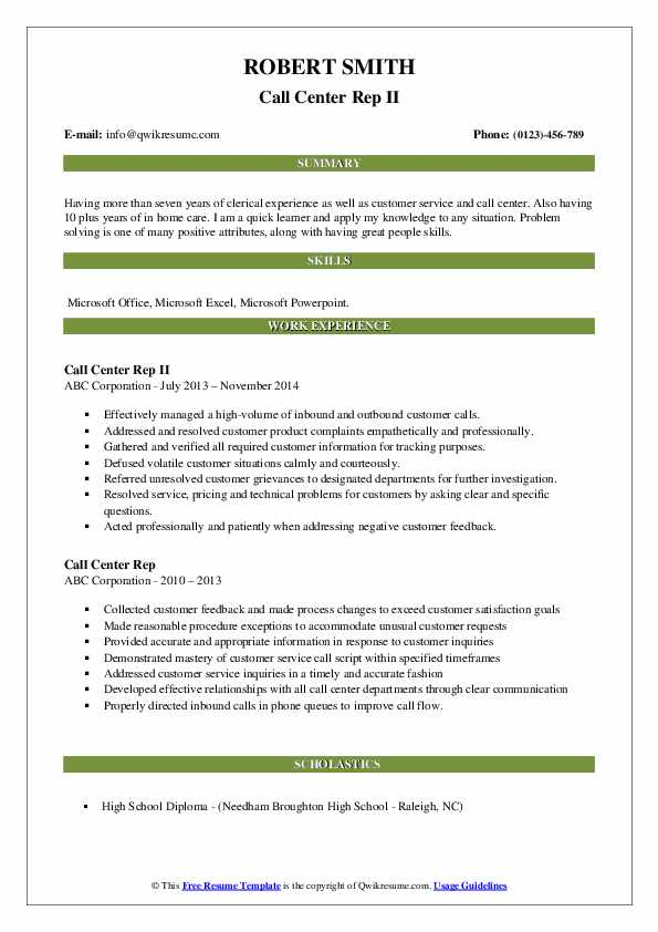 Call Center Rep II Resume Template