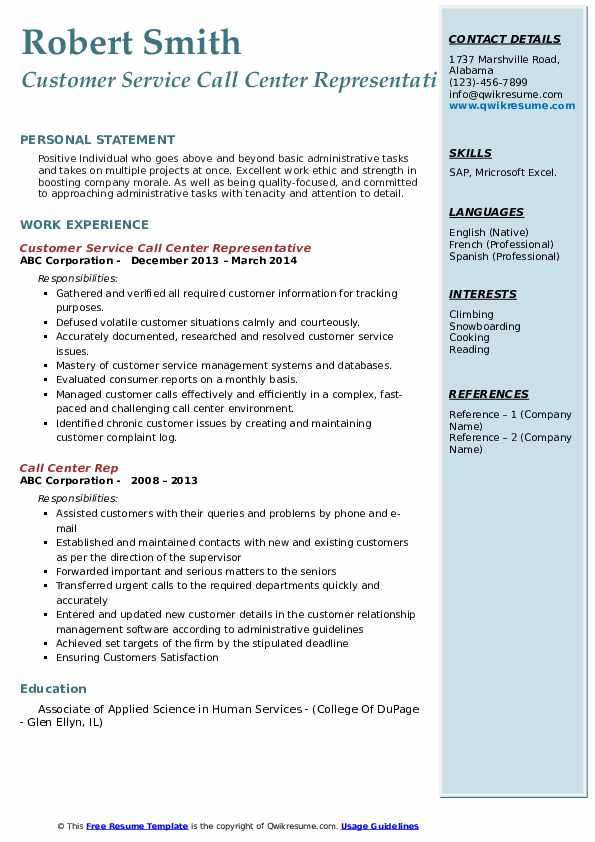 Customer Service Call Center Representative Resume Template