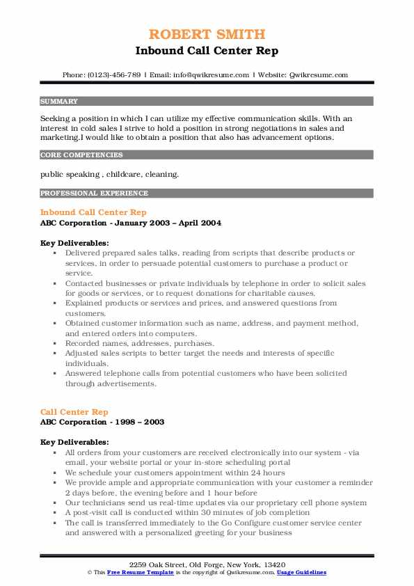 Inbound Call Center Rep Resume Template
