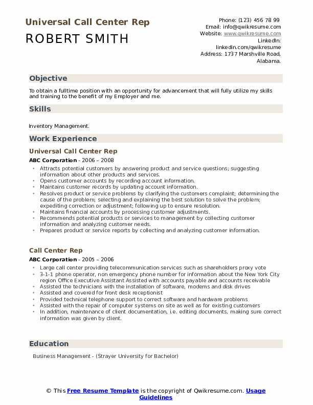 Universal Call Center Rep Resume Format