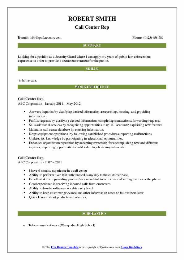 Call Center Rep Resume example