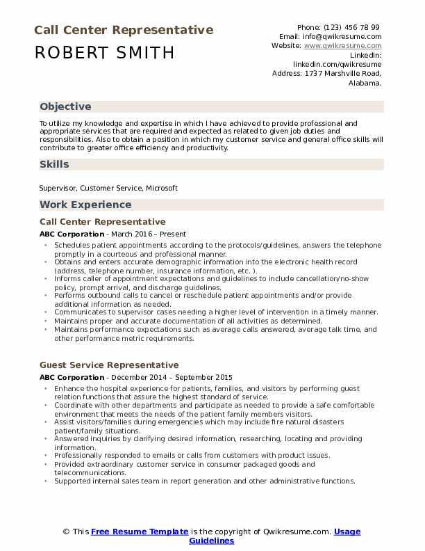 Call Center Representative Resume Format
