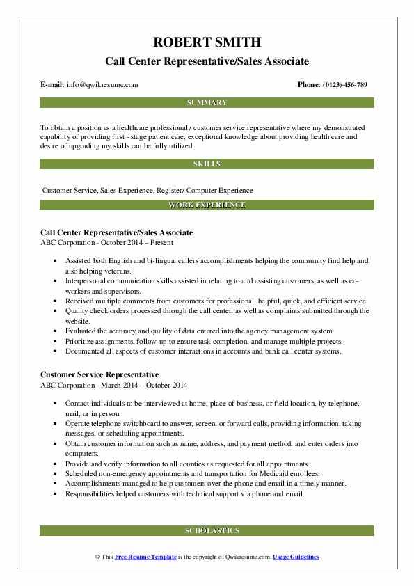 Call Center Representative/Sales Associate Resume Example