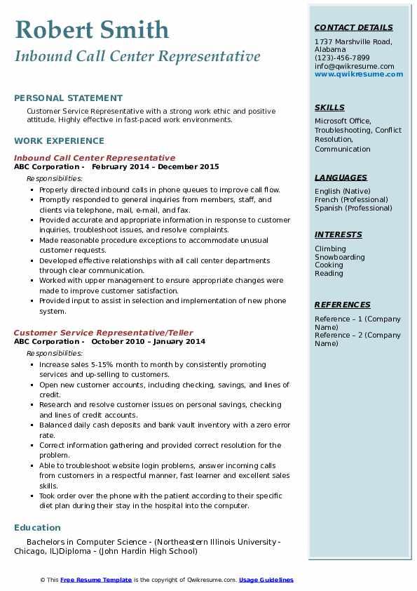 Inbound Call Center Representative Resume Example