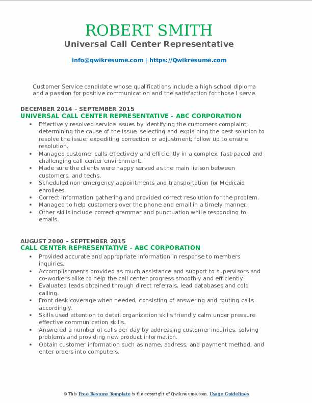 Universal Call Center Representative Resume Format