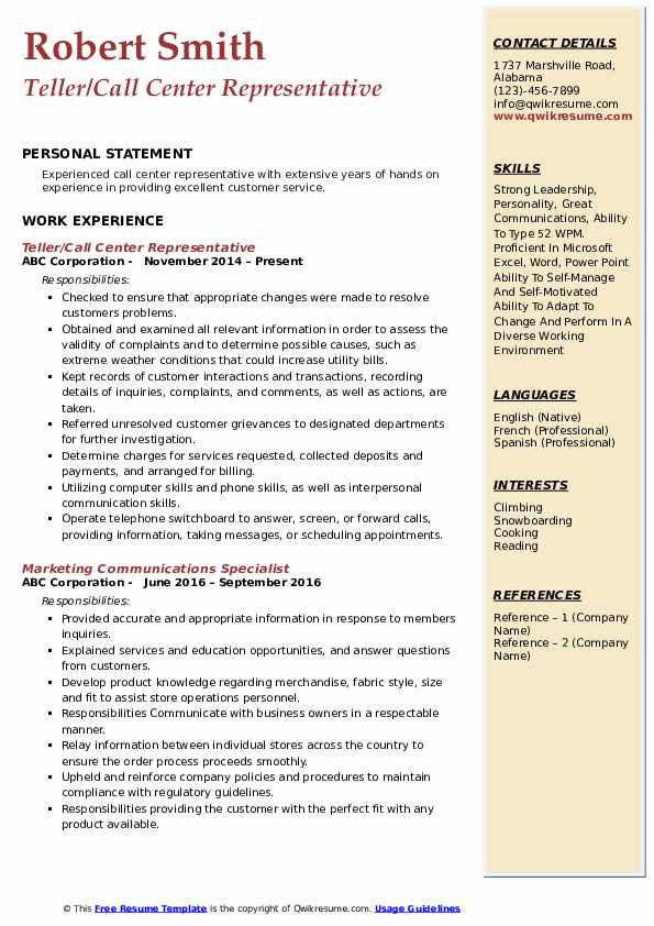 Teller/Call Center Representative Resume Template