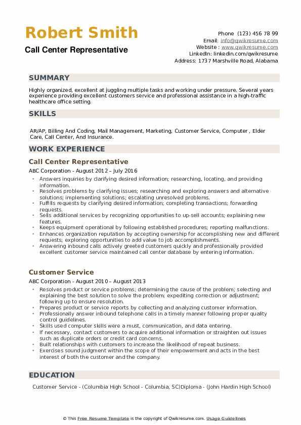 Call Center Representative Resume Example