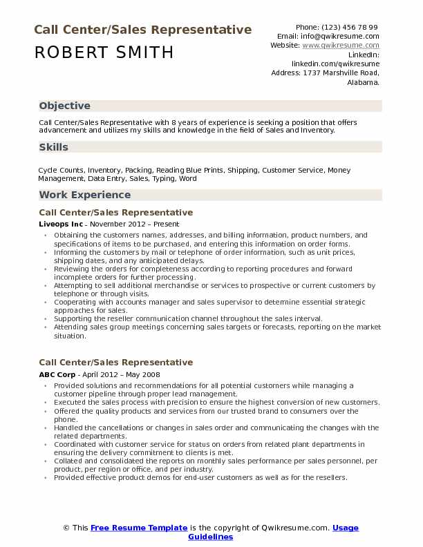 Call Center/Sales Representative Resume Sample