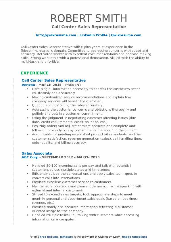 Call Center Sales Representative Resume Model