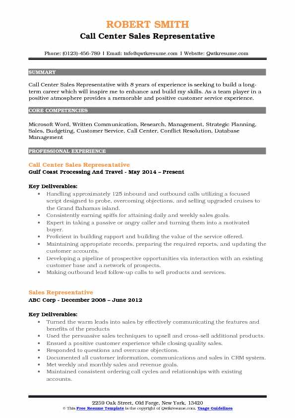 Call Center Sales Representative Resume Example
