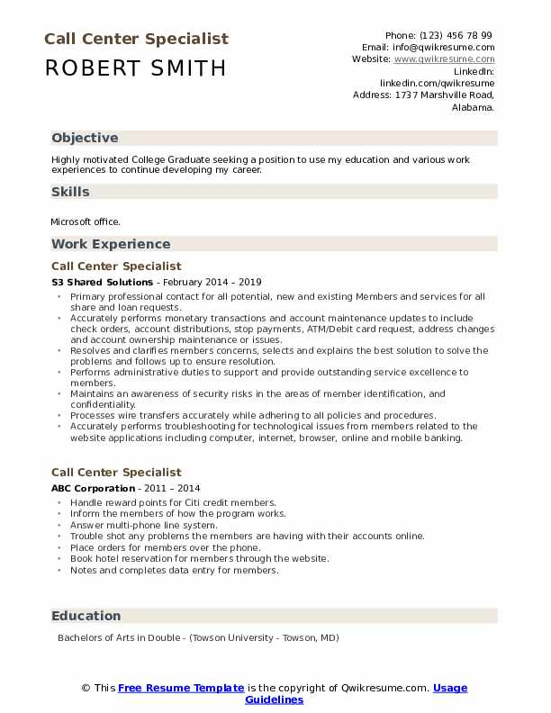 Call Center Specialist Resume Model