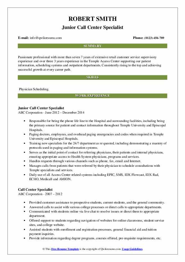 Junior Call Center Specialist Resume Format