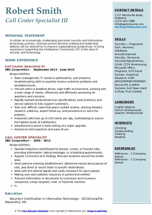 Call Center Specialist III Resume Sample