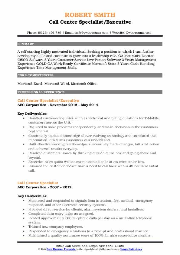 Call Center Specialist/Executive Resume Format