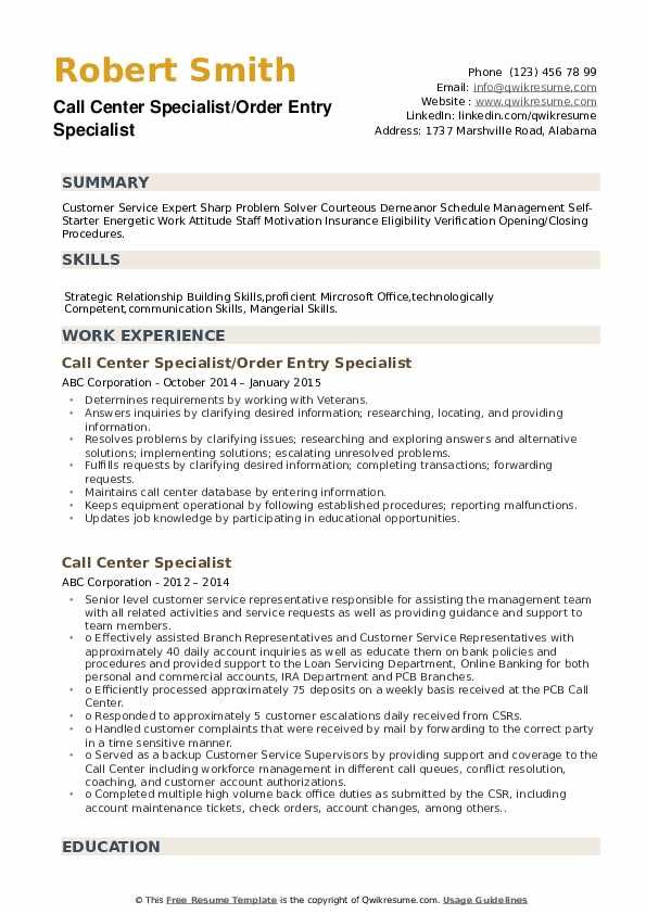 Call Center Specialist/Order Entry Specialist Resume Format