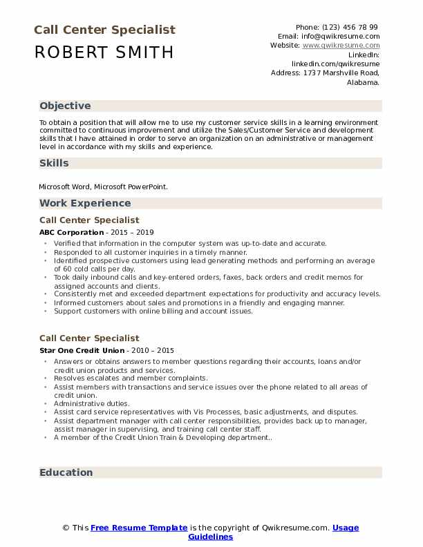 Call Center Specialist Resume example