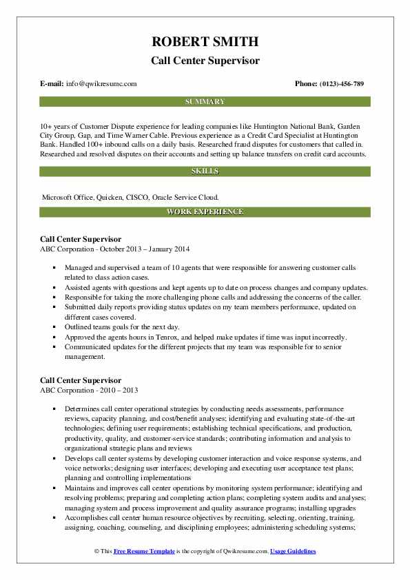 Call Center Supervisor Resume Template