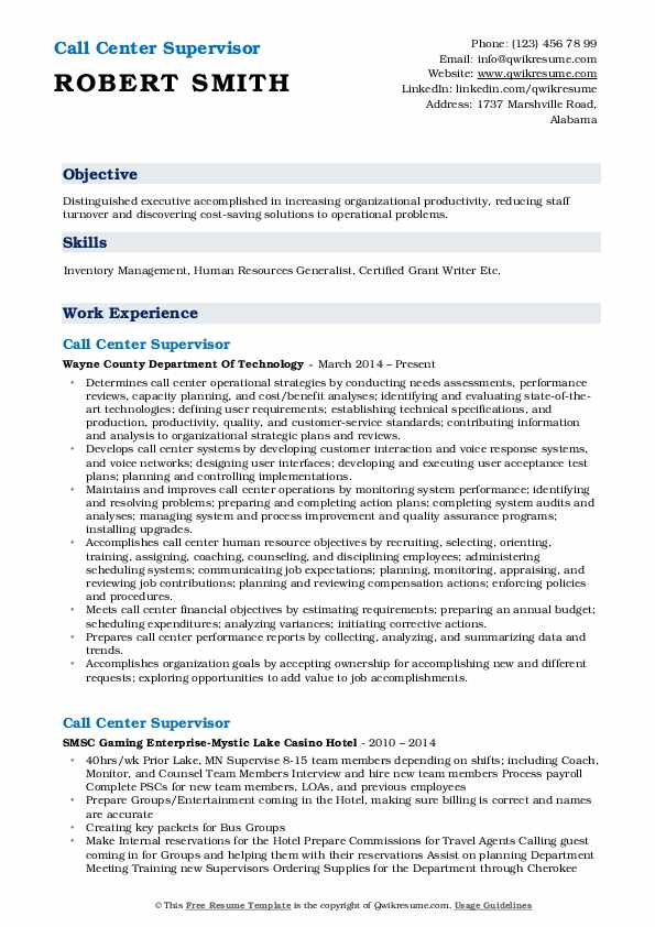 Call Center Supervisor Resume Format
