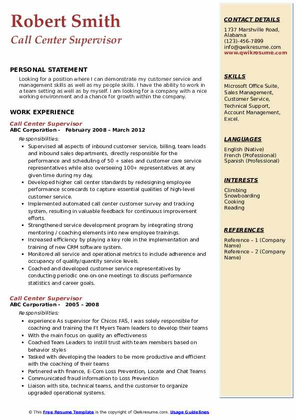 Call Center Supervisor Resume Sample