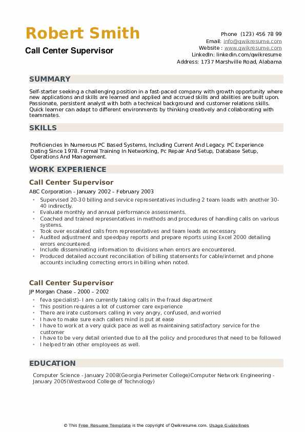 Call Center Supervisor Resume Model