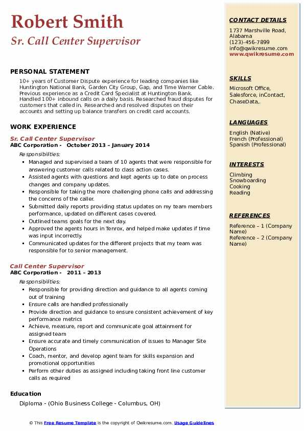 Sr. Call Center Supervisor Resume Format