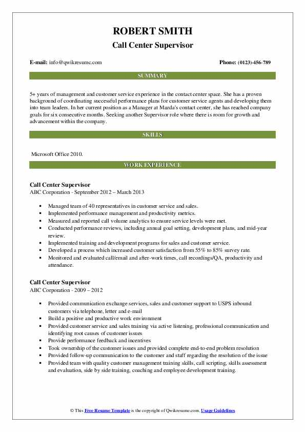 Area Call Center Manager Resume Sample