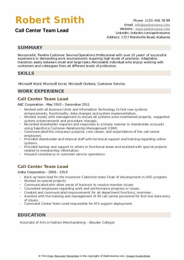 Call Center Team Lead Resume example
