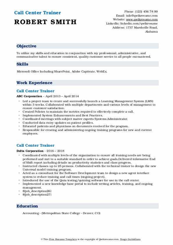 call center trainer resume samples  qwikresume