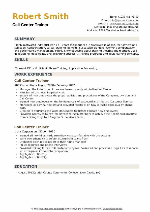 Call Center Trainer Resume example