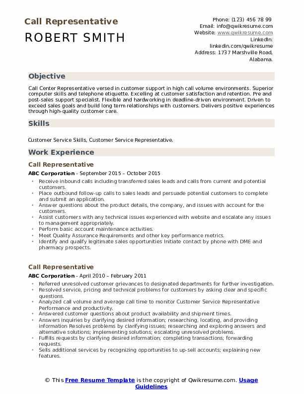 Call Representative Resume Format