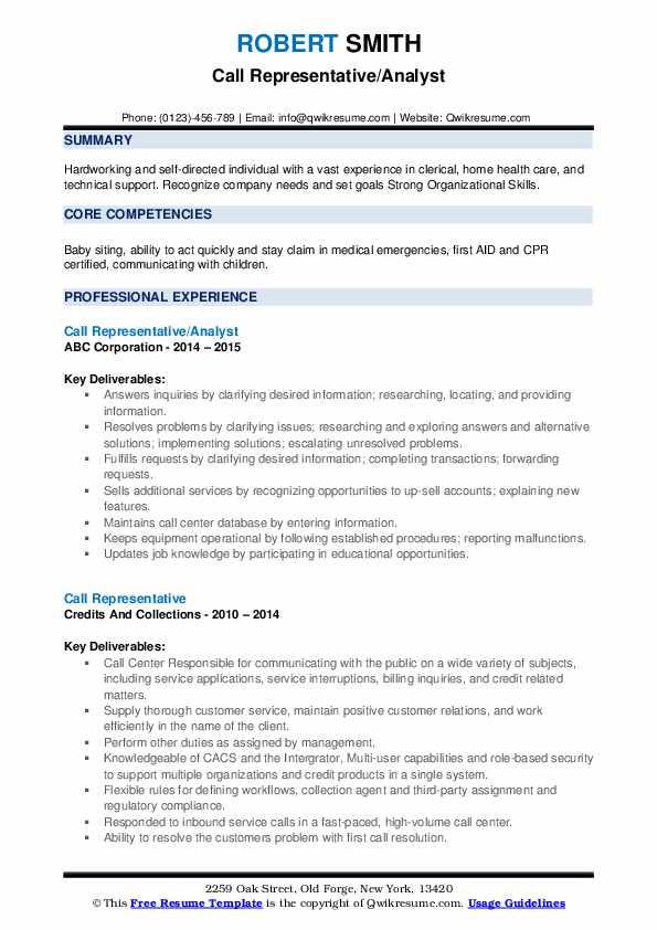Call Representative/Analyst Resume Example