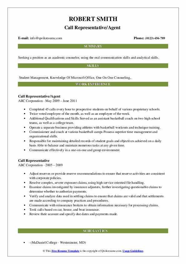 Call Representative/Agent  Resume Example