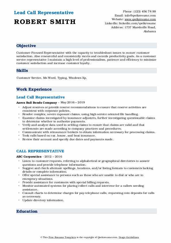 Lead Call Representative Resume Template
