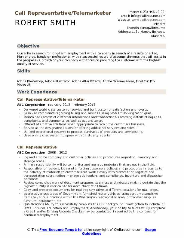 Call Representative/Telemarketer Resume Template