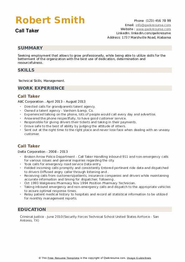 Call Taker Resume example