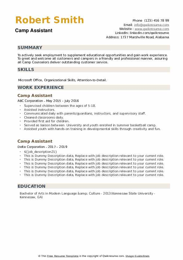 Camp Assistant Resume example
