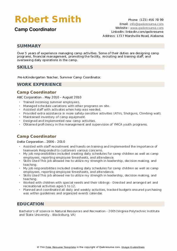 Camp Coordinator Resume example