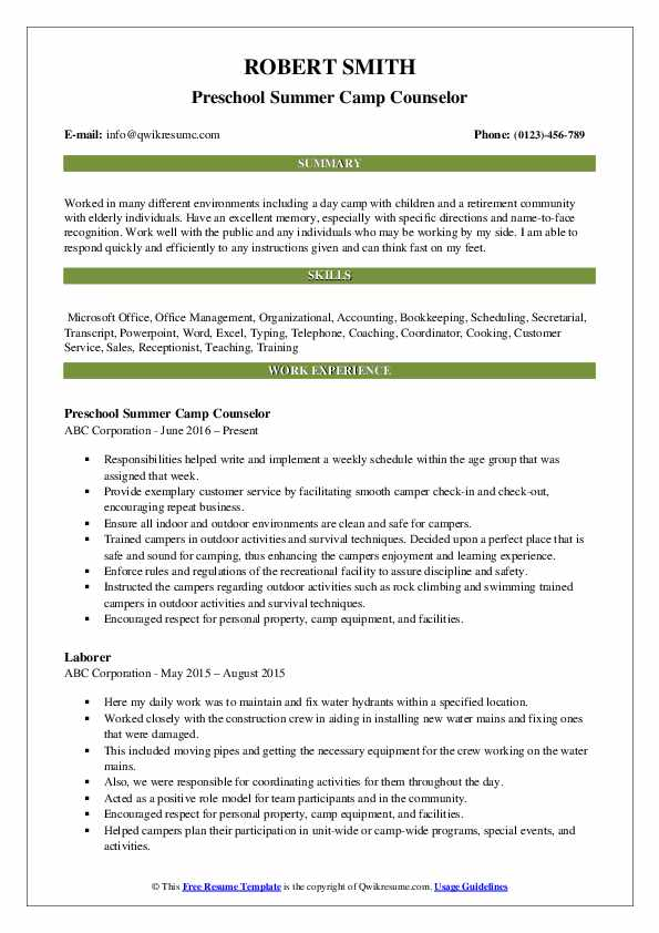 Preschool Summer Camp Counselor Resume Template