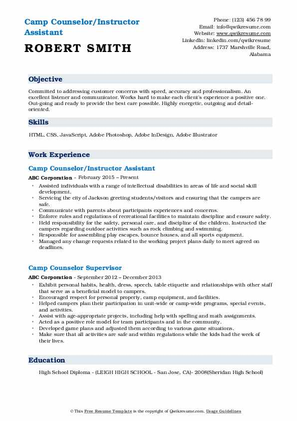 Camp Counselor/Instructor Assistant Resume Template