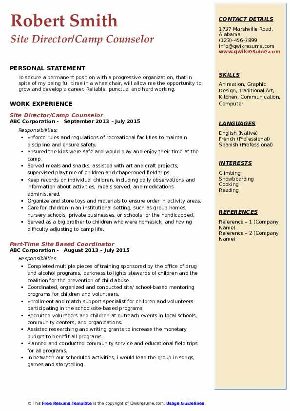Site Director/Camp Counselor Resume Template