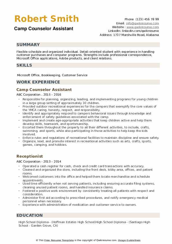 Camp Counselor Assistant Resume Model