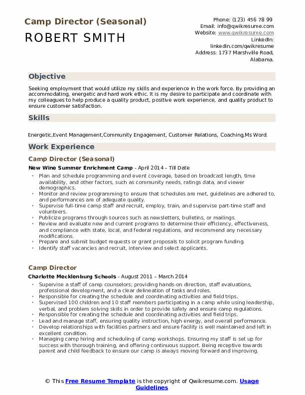 Camp Director (Seasonal) Resume Template