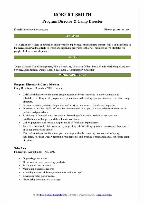 Program Director & Camp Director Resume Format