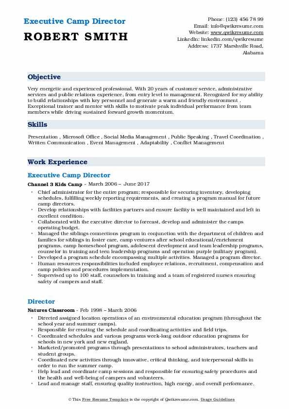 Executive Camp Director Resume Sample