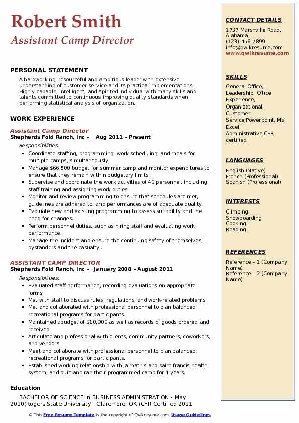 Assistant Camp Director Resume Model